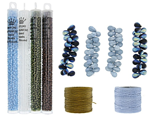 Photo of Czech Glass Lava Bead Set with Seed Beads and Nylon Thread