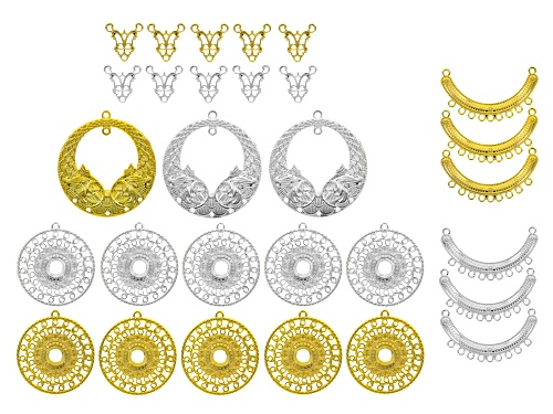 Photo of Pendant Accessory Set of 29 in Silver Tone & Gold Tone & assorted styles & sizes
