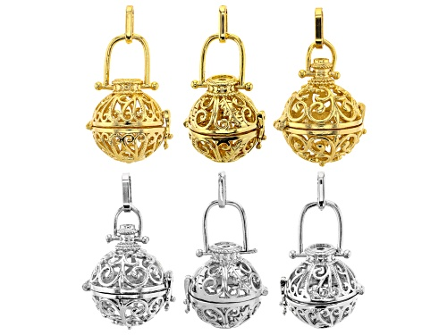 Photo of Indonesian Inspired Cage Pendant Set of 6 in 2 Designs in Silver Tone and Gold Tone