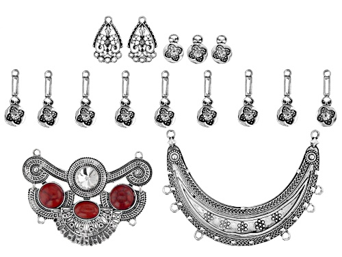 Photo of Designer Statement Focal & Component Kit in 5 Designs in Antiqued Silver Tone 17 Pieces Total