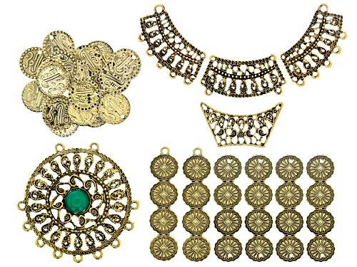 Photo of Filigree Component Kit in Antiqued Gold Tone with Emerald Color Accent Cabochon 29 Pieces Total