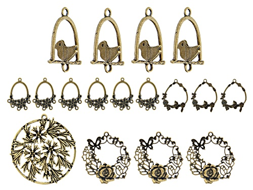 Photo of Floral Focal and Component Kit in 5 Designs in Antiqued Brass Tone 17 Pieces Total