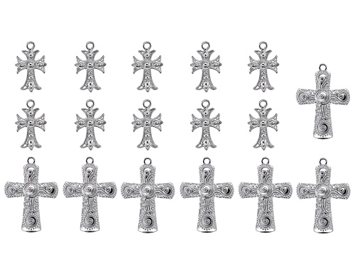 Photo of Indonesian Inspired Cross Focal Set in 3 Designs in Silver Tone 17 Pieces Total