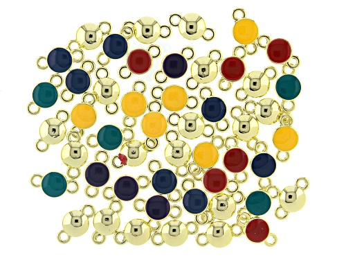 Photo of Enameled Connectors Appx 14x8mm in Assorted Colors in Gold Tone Appx 50 Pieces Total