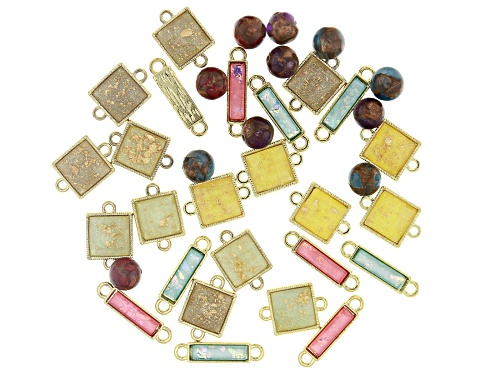 Photo of Gold Foil Acrylic Connectors and Quartzite Bead Kit in Assorted Styles and Colors Appx 37 Pieces