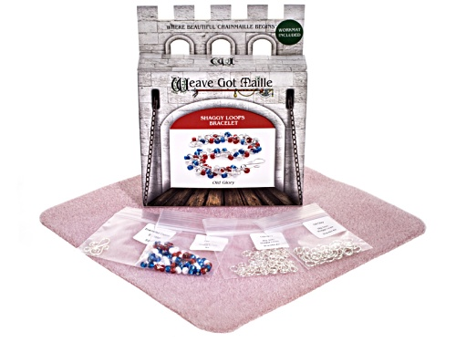 Photo of Chain Maille Shaggy Loops Bracelet Kit In Old Glory Colorway