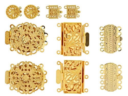 Photo of Fancy Filigree Box Clasp Set Of 10 Pieces In 5 Assorted Styles In Gold Tone