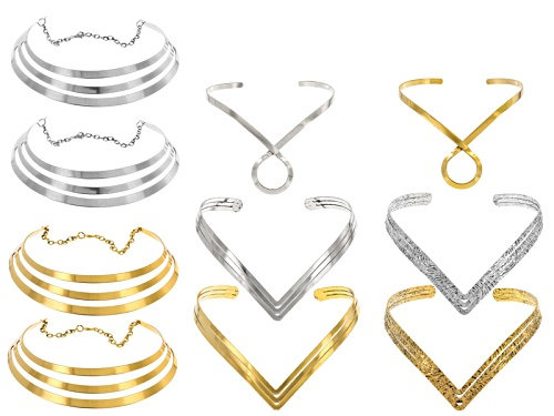 Photo of 10 Piece Necklace Set In 3 Designs In Gold Tone & Silver Tone