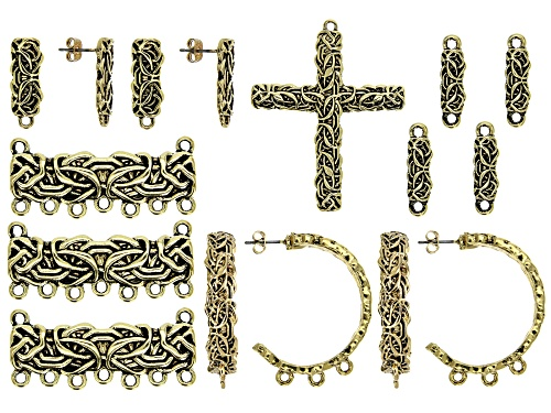 Photo of Byzantine Inspired Component Set in Antique Gold Tone 16 Pieces Total