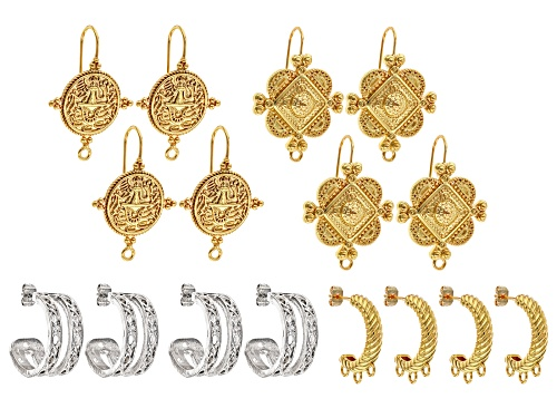 Photo of Italian Inspired Earring Components in 4 Styles 8 Sets Total in 2 Tones