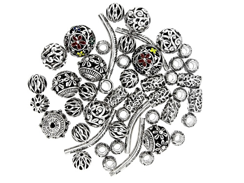 Photo of Assorted Accent Components in 7 Styles in Silver Tone Appx 48 Pieces