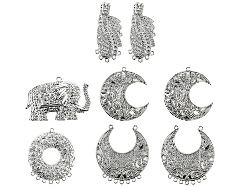 Photo of Indonesian Inspired Focal Set in 5 Styles in Silver Tone 8 Pieces in Total