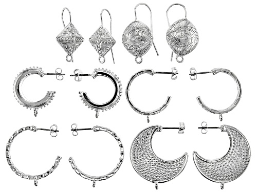 Photo of Indonesian Inspired Earring Findings in 6 Styles in Silver Tone 6 Sets Total