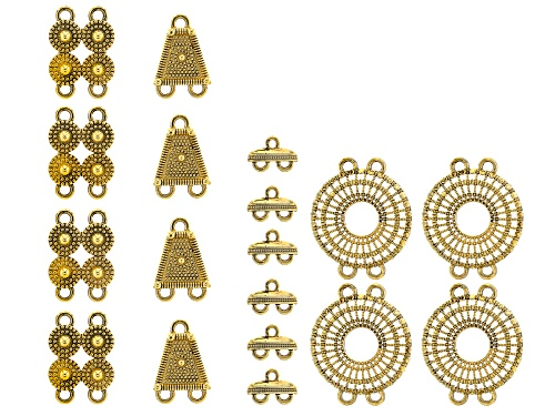 Photo of Connector Kit in Antiqued Gold Tone in 4 Style 18 Pieces Total