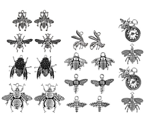 """Photo of """"Bee On Time"""" Bee Focal Set in 10 Designs Silver Tone 20 Pieces Total"""