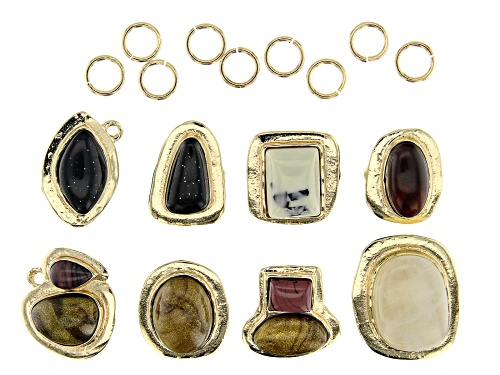 Photo of Organic Shaped Resin Connector Set of 8 in Gold Tone with Jump Rings 17 Pieces Total