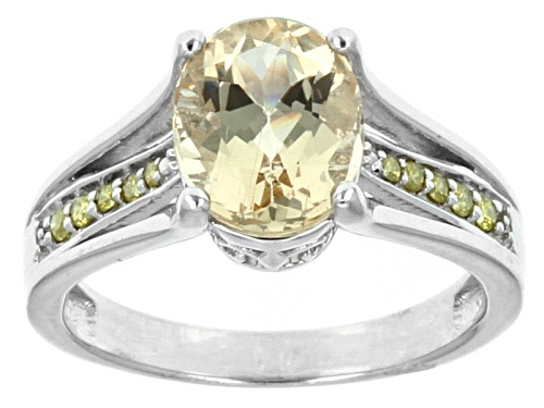 Photo of 1.92ct Oval Brazilian Yellow Beryl With .08ctw Round Yellow Diamond Accents Sterling Silver Ring - Size 11