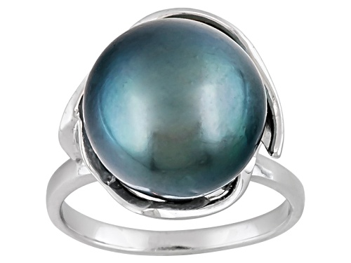 Photo of 13mm Cultured Tahitian Pearl Rhodium Over Sterling Silver Ring - Size 7