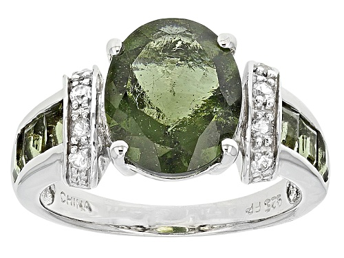 Photo of 2.82ctw Oval And Square Moldavite With .11ctw Round White Zircon Sterling Silver Ring - Size 7