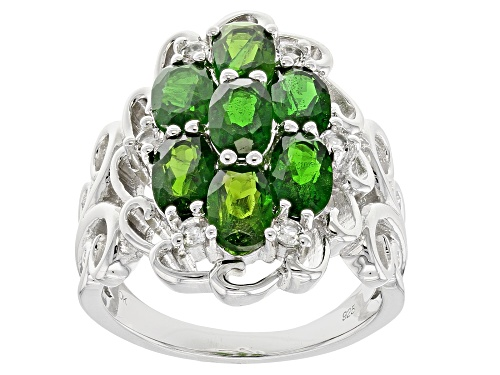 Photo of 2.87ctw Oval Russian Chrome Diopside With .20ctw Round White Topaz Sterling Silver Ring - Size 5