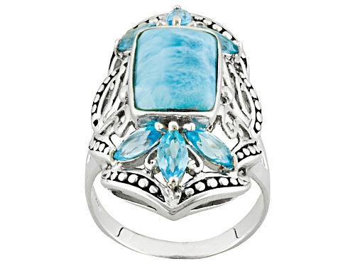 Rectangular Cushion Larimar And 1.50ctw Marquise Swiss Blue Topaz Sterling Silver Ring - Size 5