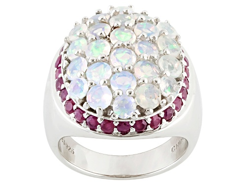 Photo of 1.56ctw Round Ethiopian Opal With 1.09ctw Round Ruby Sterling Silver Ring - Size 5