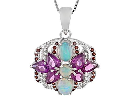 Photo of .96ctw Opal,2.80ctw Rhodolite,.26ctw Vermelho Garnet™, .14ctw White Zircon Silver Pendant W/Chain