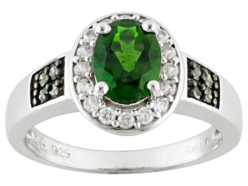 Photo of 1.11ct Russian Chrome Diopside, .29ctw White Zircon And .10ctw Green Diamond Sterling Silver Ring - Size 5