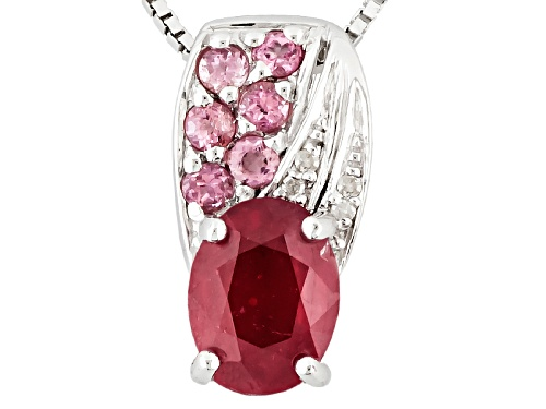 Photo of 1.50ct Mahaleo® Ruby, .17ctw Pink Tourmaline, .01ctw 4 White Diamond Accent Silver Pendant W/Chain
