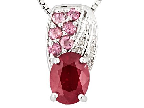Photo of 1.50ct Mahaleo® Ruby, .17ctw Pink Tourmaline, .01ctw 4 White Diamond Accent Silver Pendant W/Chain
