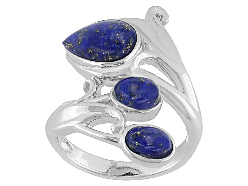 Photo of Pear Shape And Oval Lapis Sterling Silver 3-Stone Ring - Size 5
