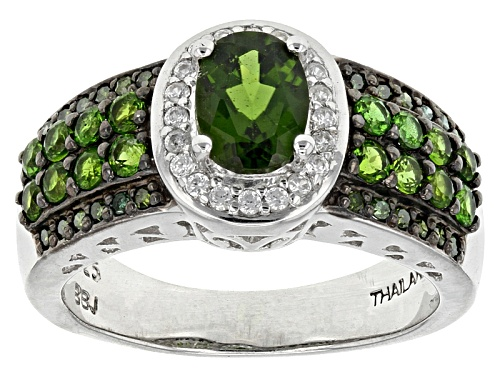 Photo of 1.25ctw Oval & Round Chrome Diopside, .12ctw Round White Zircon, .11ctw Green Diamond Silver Ring - Size 10