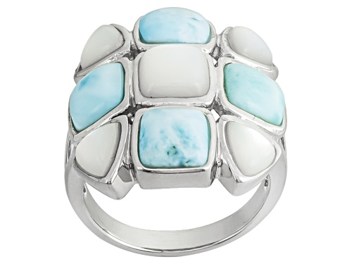 Photo of Square Cushion Larimar With Square Cushion And Trillion Mother Of Pearl Silver Ring - Size 6