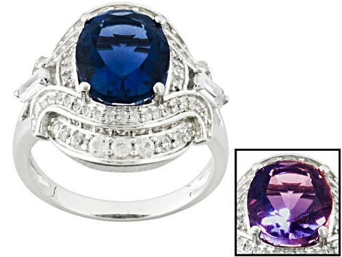 Photo of 4.53ctw Oval Color Change Fluorite With 1.18ctw Baguette And Round White Zircon Sterling Silver Ring - Size 11