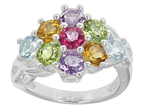 Photo of 2.12ctw Amethyst, Citrine, Glacier Topaz™, Pink Topaz And Manchurian Peridot™ Silver Ring - Size 11