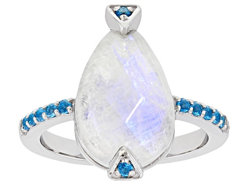 Photo of 15x10mm Pear Shape Rainbow Moonstone With .18ctw Round Neon Apatite Rhodium Over Silver Ring - Size 7