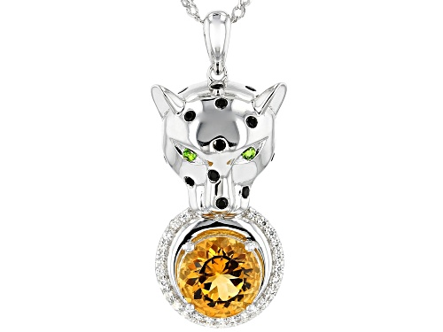 Photo of 2.35CTW ROUND MULTI-GEM WITH .28CTW WHITE ZIRCON PANTHER RHODIUM OVER SILVER PENDANT WITH CHAIN