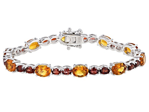 Photo of 9.95ctw Oval Madeira Citrine & 5.61ctw Vermelho Garnet(TM) Rhodium Over Silver Bracelet - Size 8