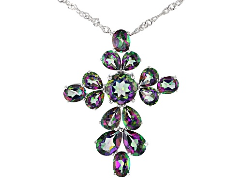 Photo of 6.93ctw Pear Shape, Oval, Round Mystic Fire(R) Green Topaz Rhodium Over Silver Cross Pendant W/Chain