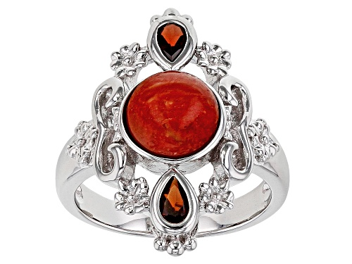 Photo of 8mm Round Red Sponge Coral & .44ctw Pear Shape Vermelho Garnet(TM) Rhodium Over Silver Ring - Size 7
