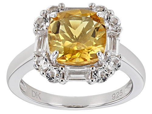Photo of 2.89ct Square Cushion Brazilian Citrine With .99ctw White Topaz Rhodium Over Silver Ring - Size 7