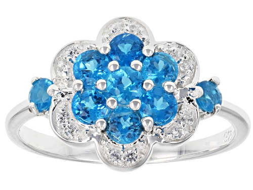 Photo of .69ctw Round Neon Apatite & .08ctw White Zircon Sterling Silver Flower Ring - Size 8
