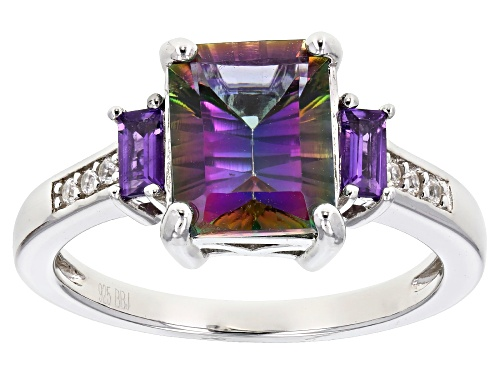 Photo of 2.38ct Mystic Fire® Green Topaz, .22ctw Amethyst & .04ctw White Zircon Rhodium Over Silver Ring - Size 8