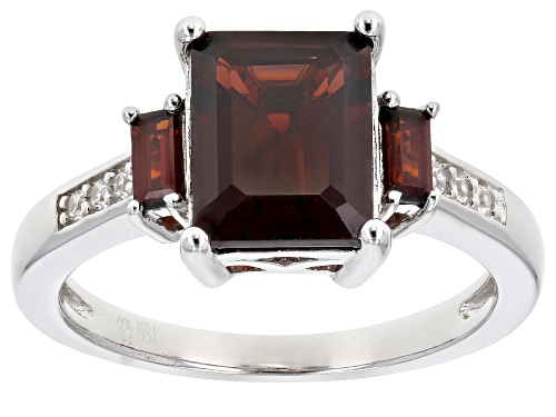 Photo of 2.57CTW VERMELHO GARNET(TM) WITH .04CTW WHITE ZIRCON RHODIUM OVER STERLING SILVER RING - Size 9