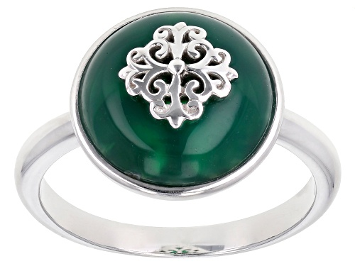 Photo of 12mm Round Green Onyx Rhodium Over Sterling Silver Solitaire Ring - Size 7