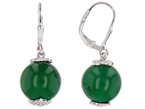 12mm Round Green Onyx Rhodium Over Sterling Silver Drop Earrings