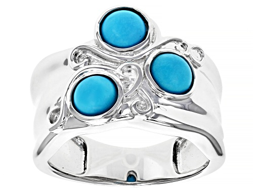 Photo of 5mm Round Cabochon Sleeping Beauty Turquoise Rhodium Over Silver 3-Stone Band Ring - Size 7