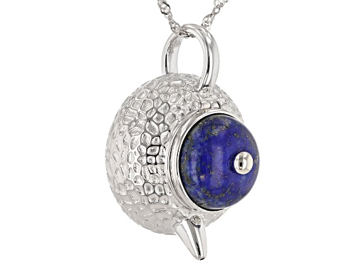 Photo of 14mm Round Lapis Lazuli Rhodium Over Sterling Silver Teapot Locket Pendant with Chain