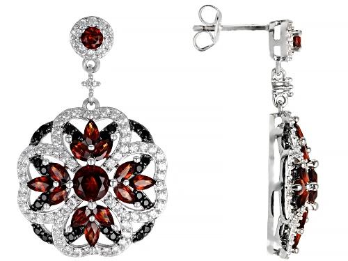 Photo of 3.37ctw Vermelho Garnet(TM), 1.93ctw black spinel & white zircon rhodium over silver earrings
