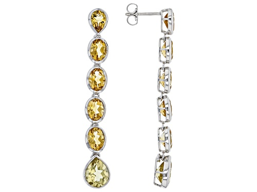 Photo of 6.20ctw Brazilian Citrine with 2.75ctw Champagne Quartz Rhodium Silver 6-Stone Dangle Earrings